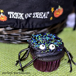 spider cupcake with licorice legs