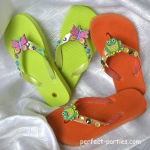 decorated kids flip flops