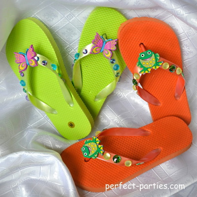 Cute flip flops decorated at kids birthday parties.