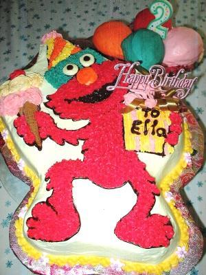 Elmo Cake Pan Decorating Instructions : Elmo Cake