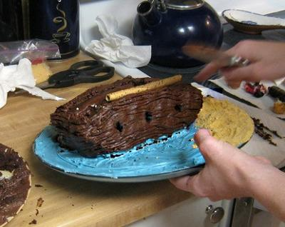 Three Round Cake Halves Are Used to Form the Ship