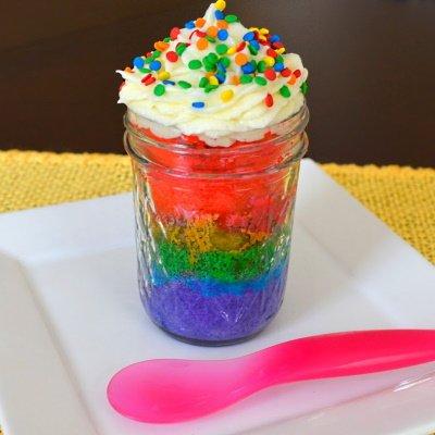 Rainbow Cake in a Jar.
